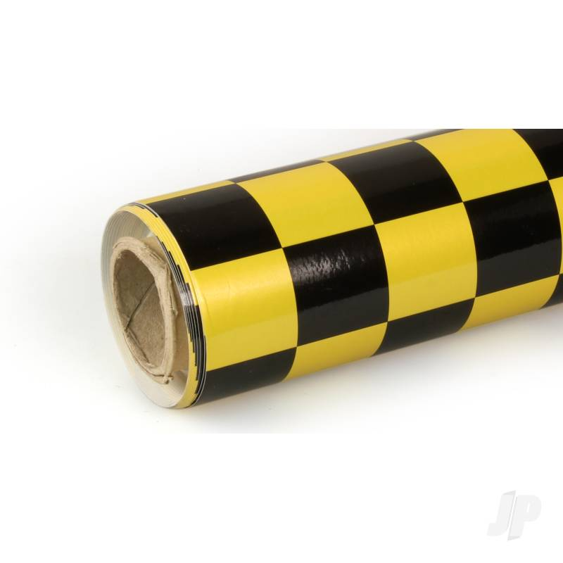 10m Oracover Fun-3 Large Chequered Pearl Yellow/Black