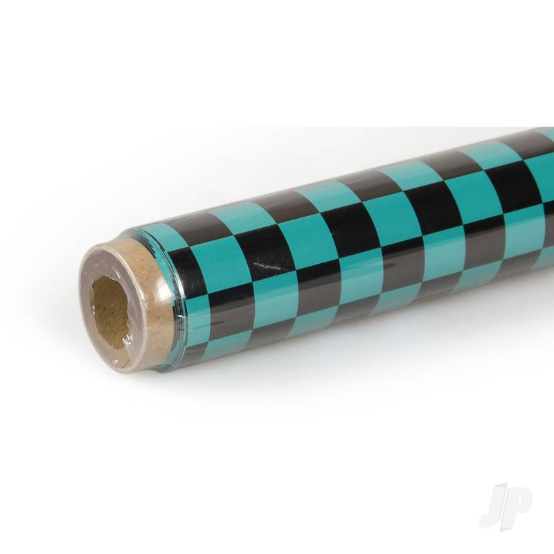 2m Oracover Fun-4 Small Chequered Turquoise/Black