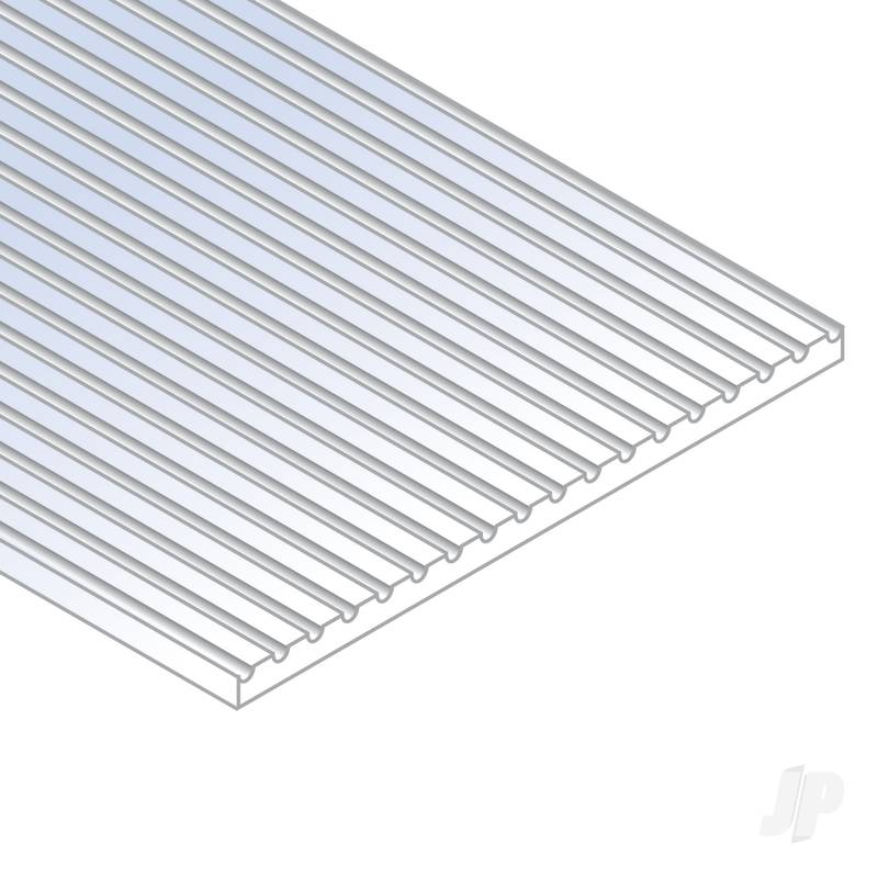 12x24in (30x60cm) HO Scale Passenger Car Siding Sheet .030in (0.75mm) Thick .025in Spacing (1 Sheet per pack)