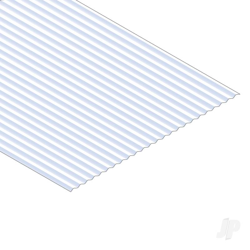 12x24in (30x60cm) Corrugated Metal Siding Sheet .040in (1.0mm) Thick .100in Groove Spacing (1 sheet per pack)