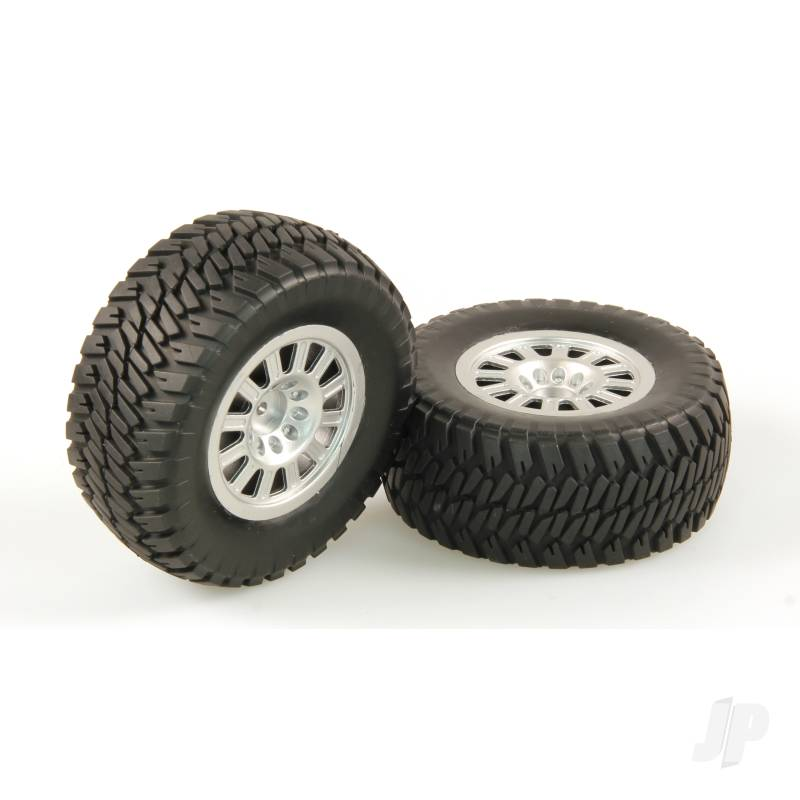 Tires, AT2, Mounted, Silver Wheel, Pair (Dominus 10SC)