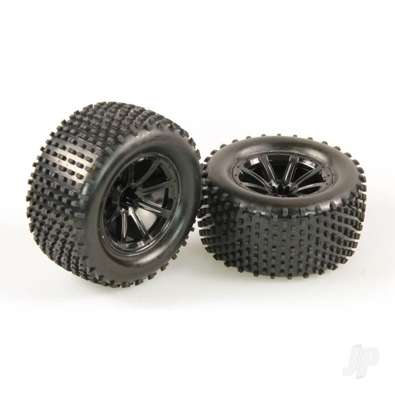 Tires, Mounted, Black Wheel, Pair (Dominus 10TR)