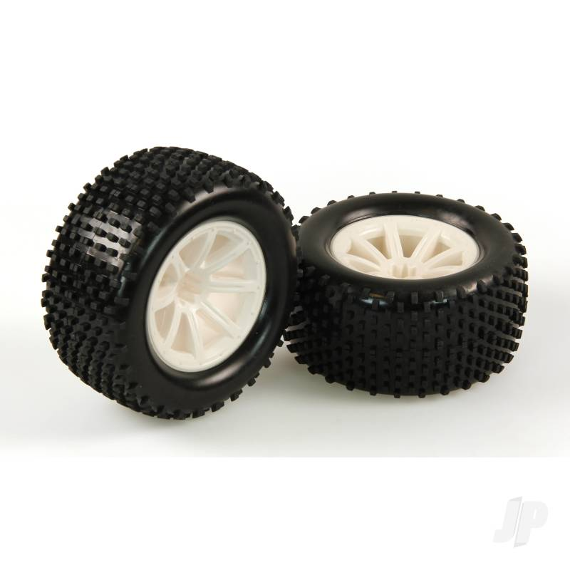 Tires, Mounted, White Wheel, Pair (Dominus 10TR)