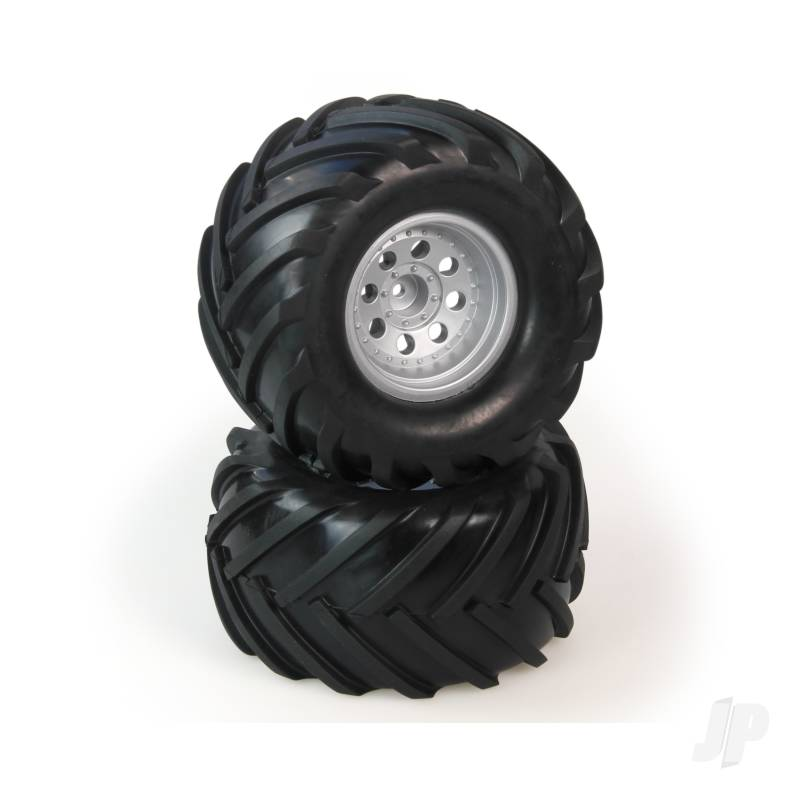 Tires, Mounted, Silver Wheel, Pair (Dominus 10TR)