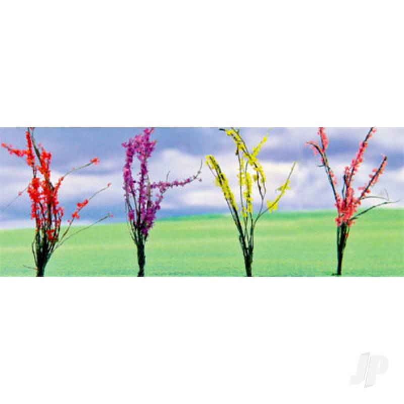 Flower Bushes Assorted, 1in to 1-1/2in, O-Scale, (32 pack)