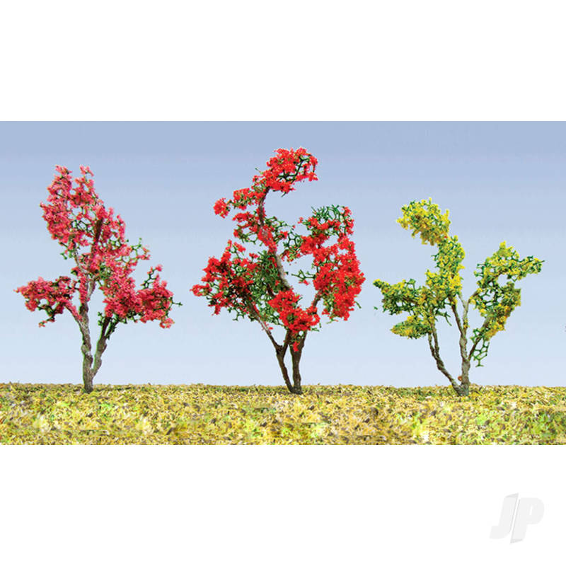 Flower Trees, Red, Pink, Yellow, Purple, 3/4in-1in, HO-Scale, (18 per pack)