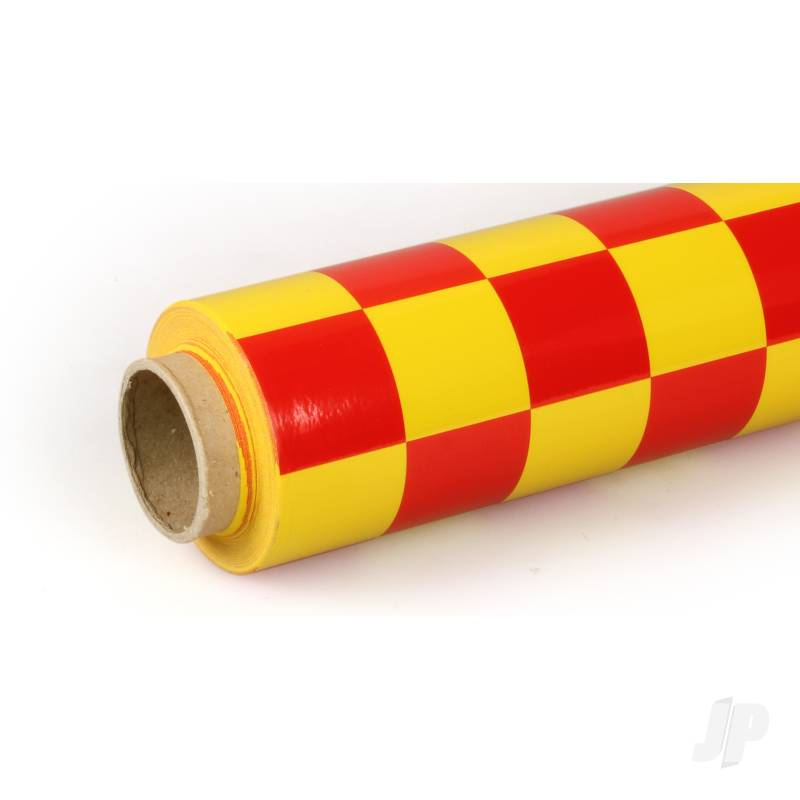 10m Oracover Fun-3 Large Chequered Yellow/Red