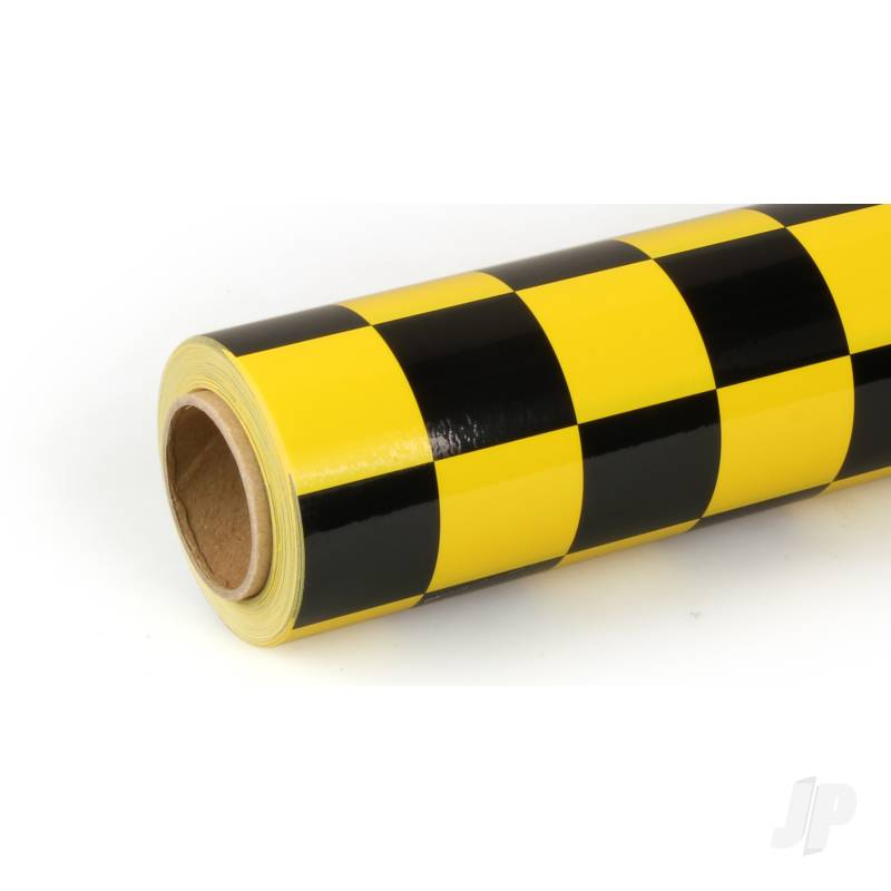 10m Oracover Fun-3 Large Chequered Yellow/Black