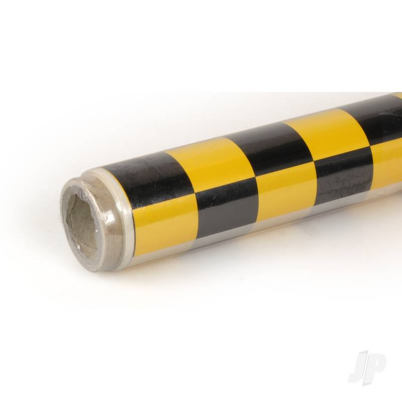 2m Oracover Fun-3 Large Chequered Pearl G.Yellow/Black
