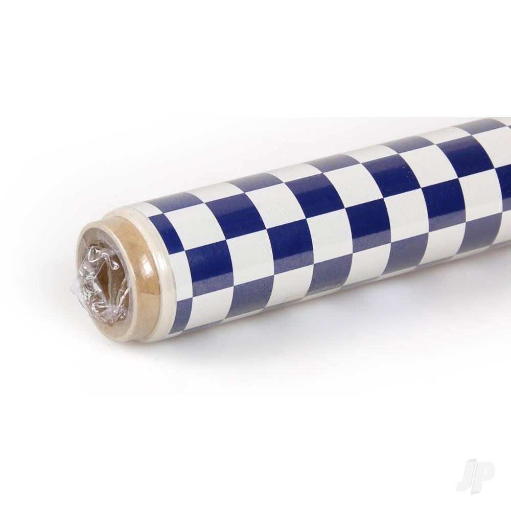 2m ORACOVER Fun-4 Small Chequered, White + Dark Blue (60cm width)