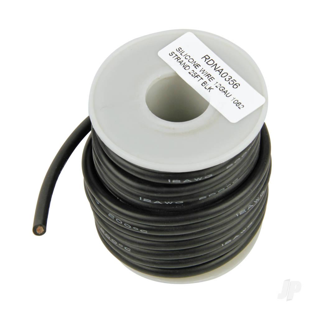 Silicone Wire, 12ga, 1062 Strand, 25ft Black