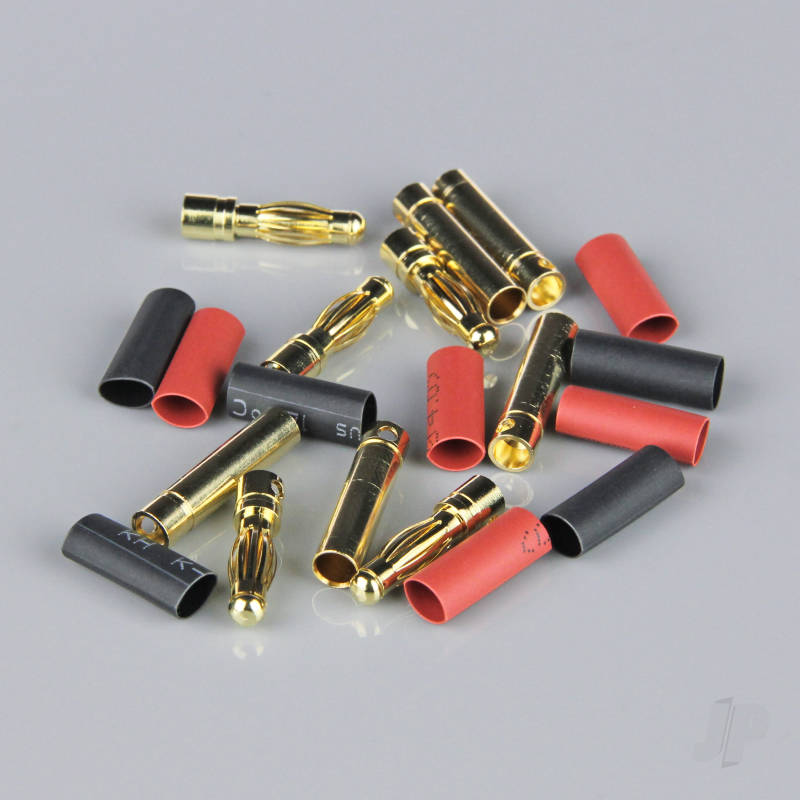 4.0mm Gold Connector Pairs including Heat Shrink (5pcs)