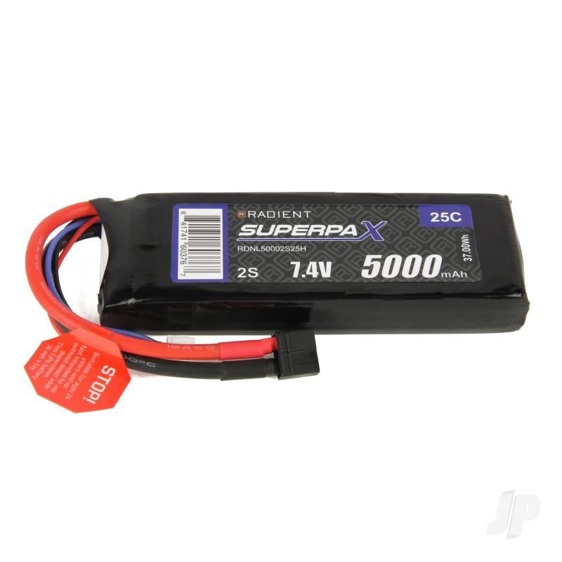 LiPo 2S 5000mAh 7.4V 25C Deans (HCT)