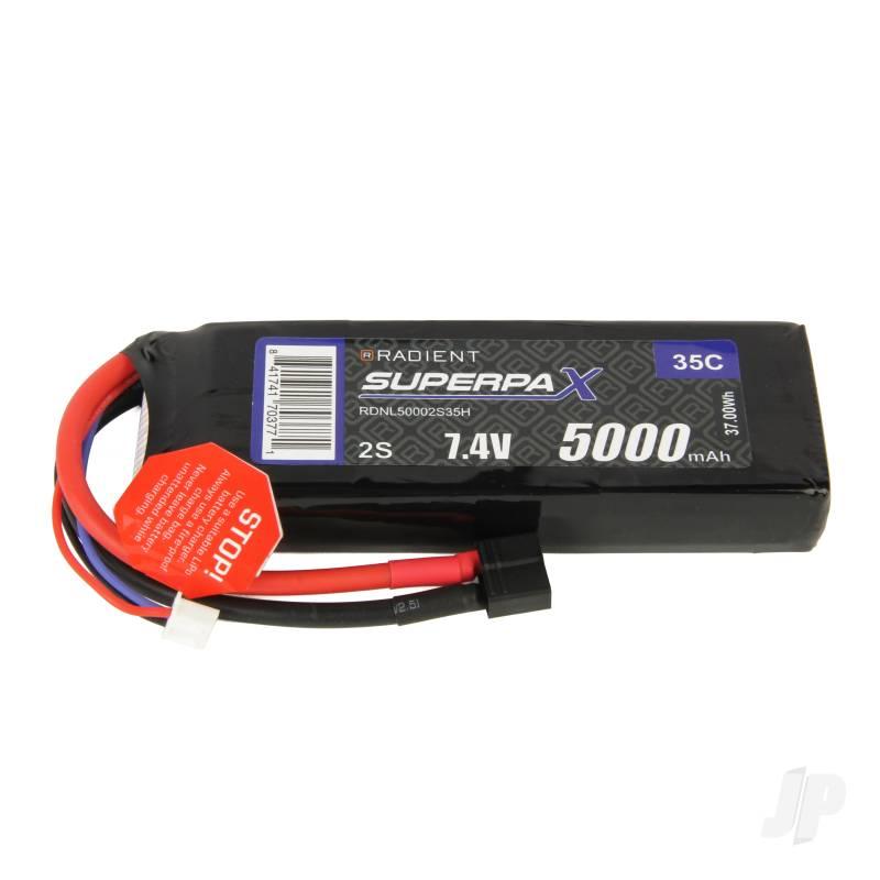 LiPo 2S 5000mAh 7.4V 35C Deans (HCT)