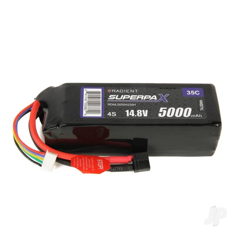 LiPo 4S 5000mAh 14.8V 35C Deans (HCT)