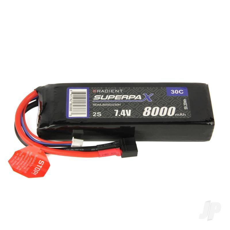 LiPo 2S 8000mAh 7.4V 30C Deans (HCT)