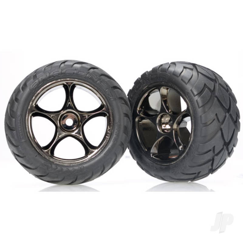 Tyres & wheels, assembled (Tracer 2.2in black chrome wheels, Anaconda 2.2in Tyres with foam inserts) (2pcs) (Bandit rear)