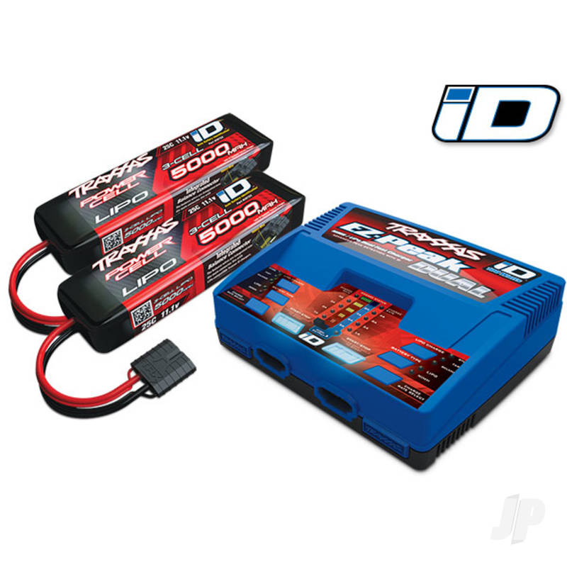 Battery / charger completer pack (includes #2972 Dual iD charger (1), #2872X 5000mAh 11.1V 3-cell 25C LiPo battery (2)) (for Europe)