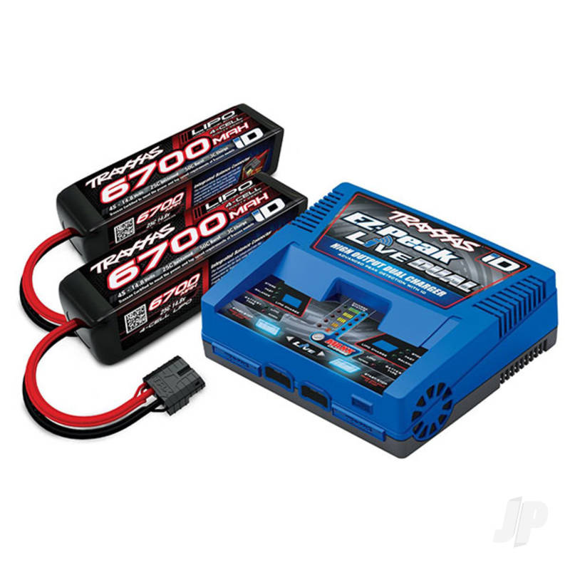 Battery / charger completer pack (includes #2973 Dual iD charger (1pc), #2890X 6700mAh 14.8V 4-cell 25C LiPo battery (2pcs))