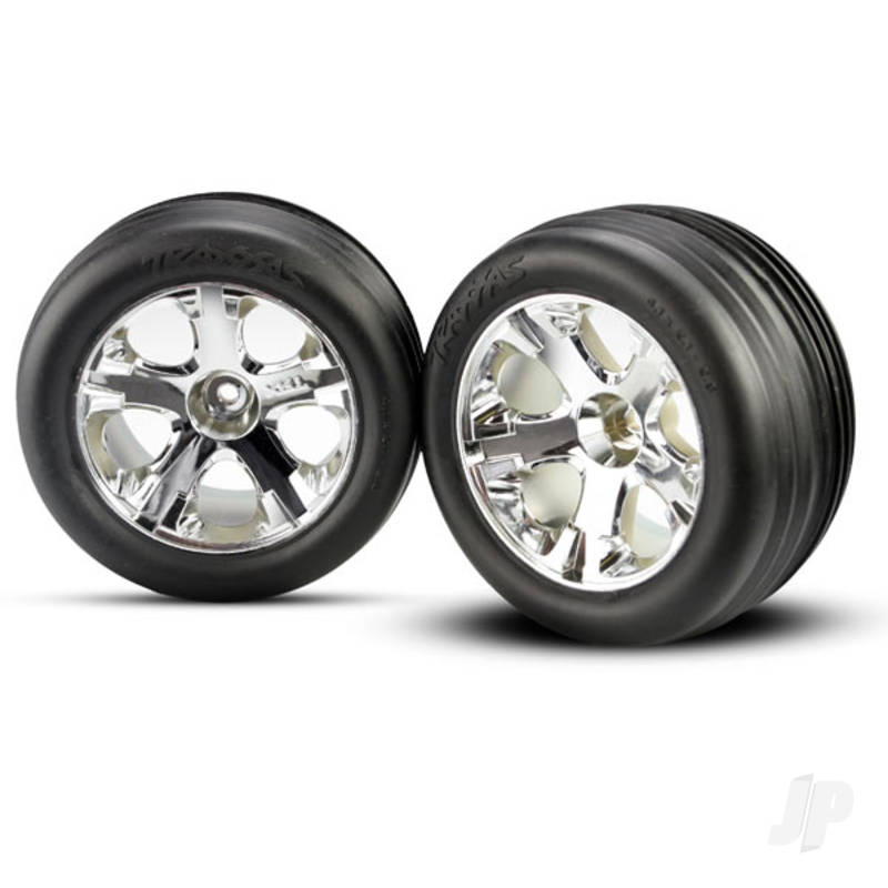 Tires & wheels, assembled, glued (2.8in) (All-Star chrome wheels, ribbed tires, foam inserts) (electric front) (2pcs)