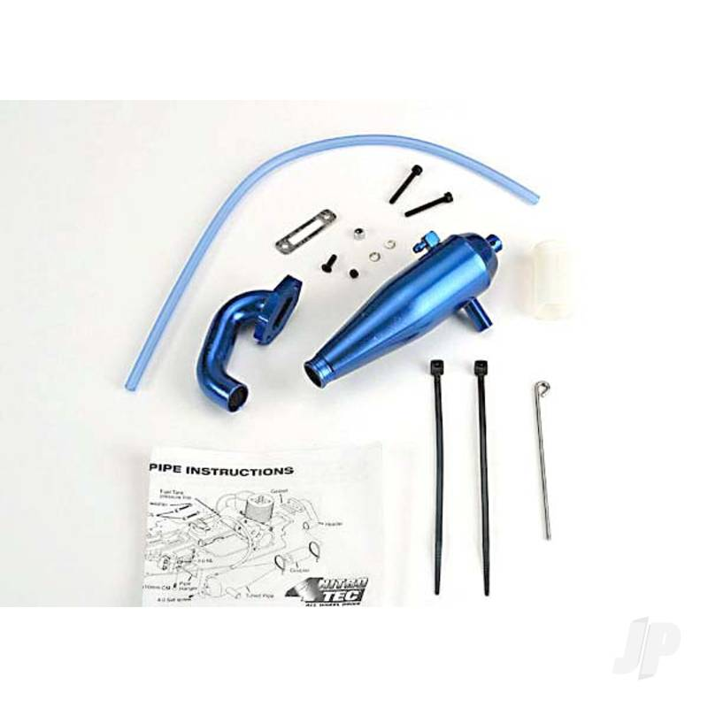 Aluminium tuned pipe & header (complete with mounting hardware) (strong power across mid and upper RPM range) (blue-anodized)