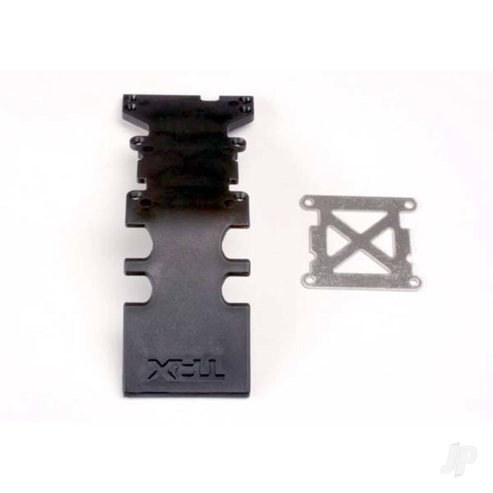 Skidplate, rear plastic (black) / stainless steel plate