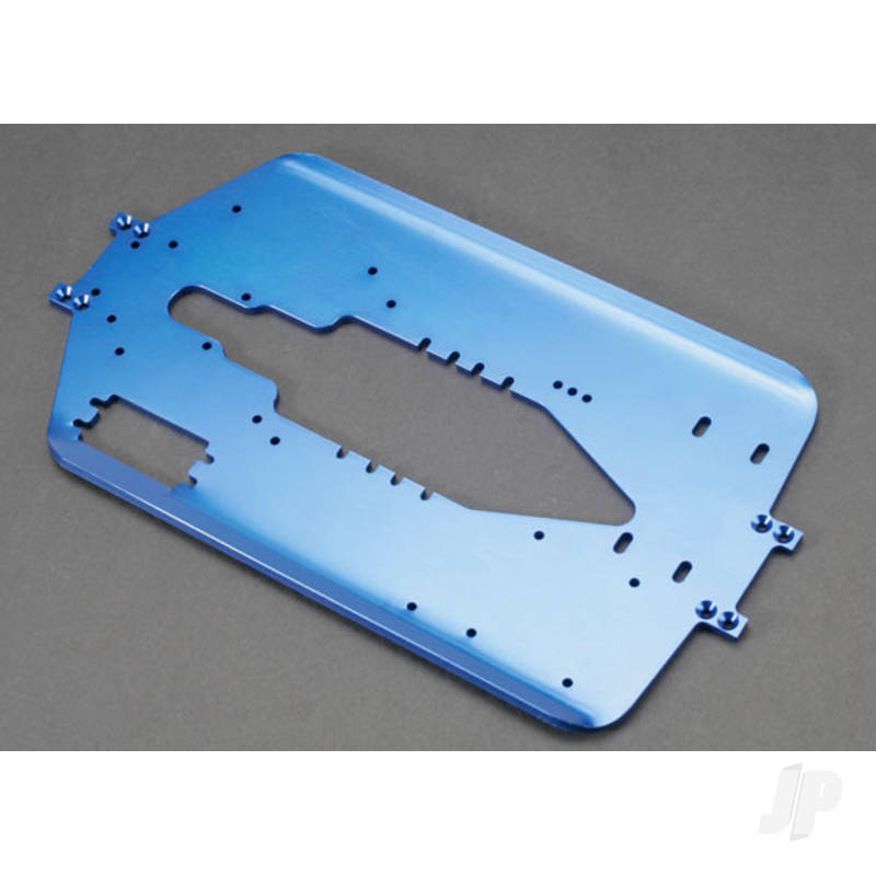 Chassis, T-Maxx, Long wheelbase (extended 30mm) (6061-T6 aluminium, 4.0mm) (blue anodized)