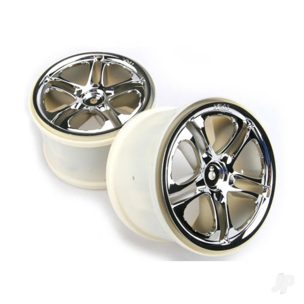 Wheels, SS (split spoke) 3.8in (chrome) (2pcs) (fits Revo / Maxx series)