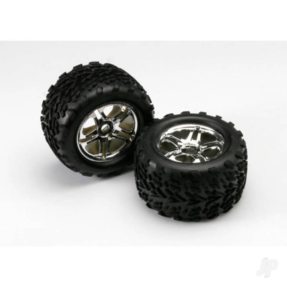 Tires & wheels, assembled, glued (SS (Split Spoke) chrome wheels, Talon tires, foam inserts) (2pcs) (use with 17mm splined wheel hubs & nuts, part #5353X)