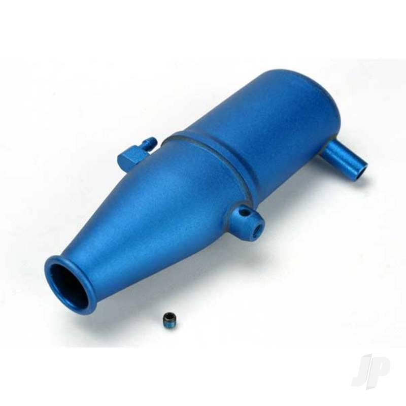 Tuned pipe, aluminium, blue-anodized (dual chamber with pressure fitting) / 4mm GS