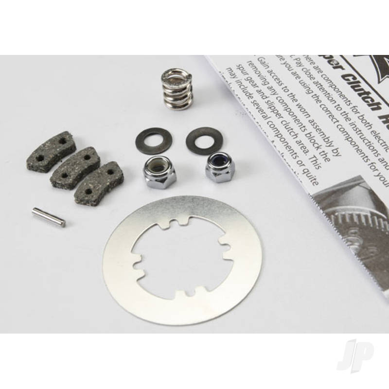 Rebuild kit, slipper clutch (steel disc / friction pads (3pcs) / spring (2pcs) / 2x9.8mm pin / 5x8mm M with 5.0mm NL (1pc) / 4.0mm NL (1pc))