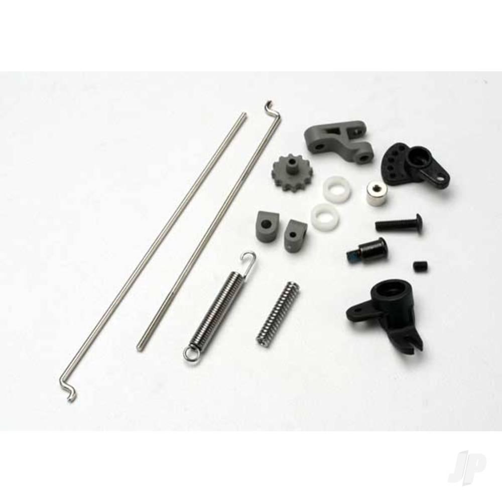Linkage set, throttle & brake, Revo / Slayer (includes servo horns, rod guides, brake spring, brake adjustment dial, brake lever, rods (wires), bellCrank, throttle return spring, hardware)