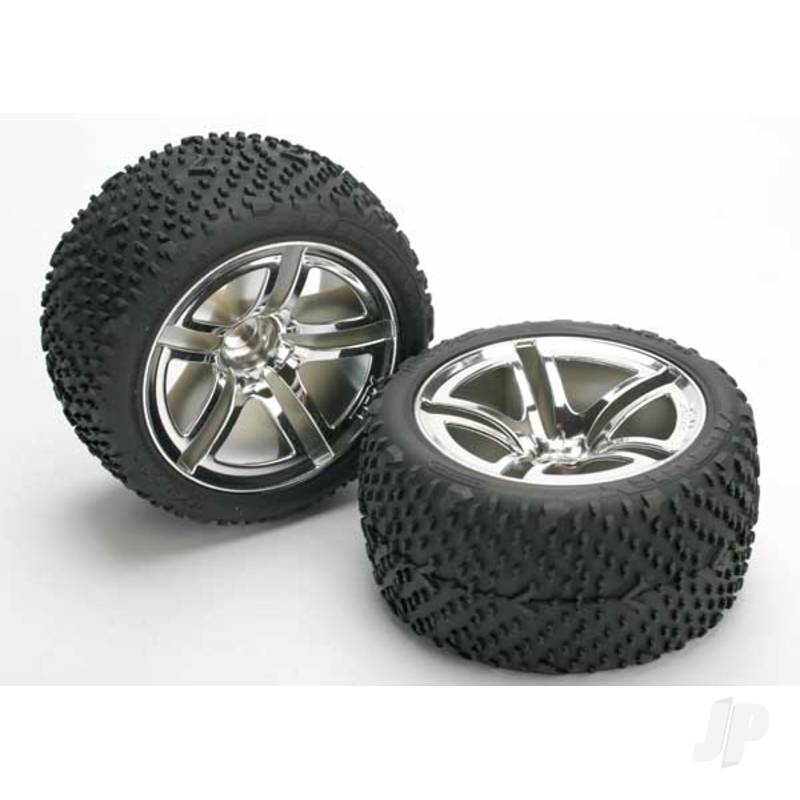 Tires & wheels, assembled, glued (Twin-Spoke wheels, Victory tires, foam inserts) (nitro rear) (2pcs)
