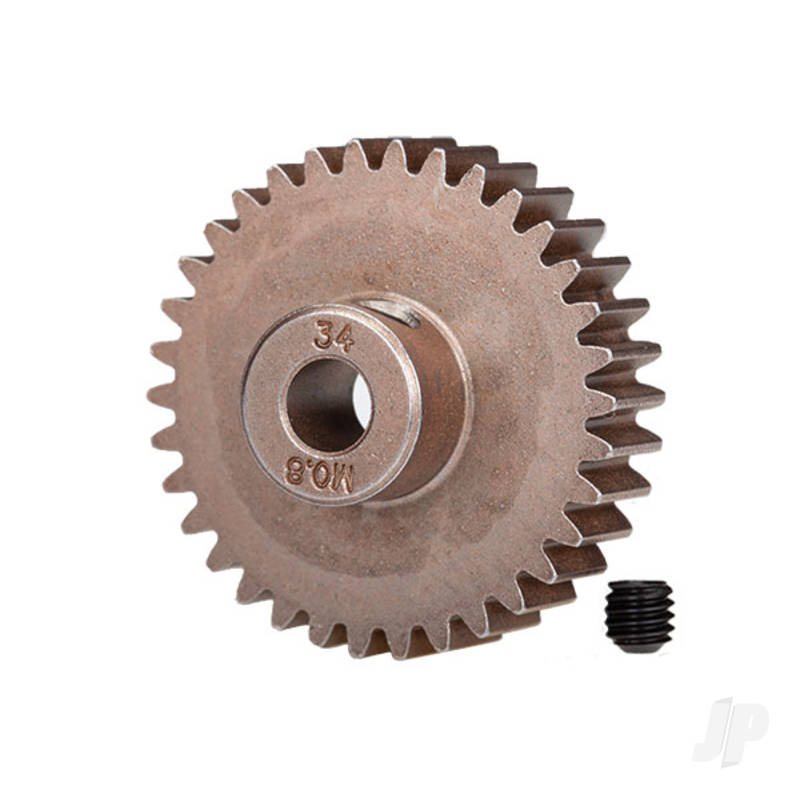 Gear, 34-T pinion (0.8 metric pitch, compatible with 32-pitch) (fits 5mm shaft) / set screw