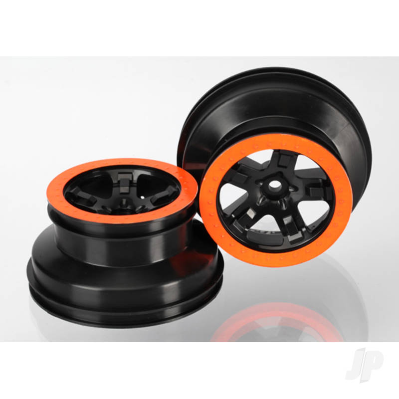 Wheels, SCT black, orange beadlock style, dual profile (2.2in outer, 3.0in inner) (4WD front & rear, 2WD rear) (2pcs)