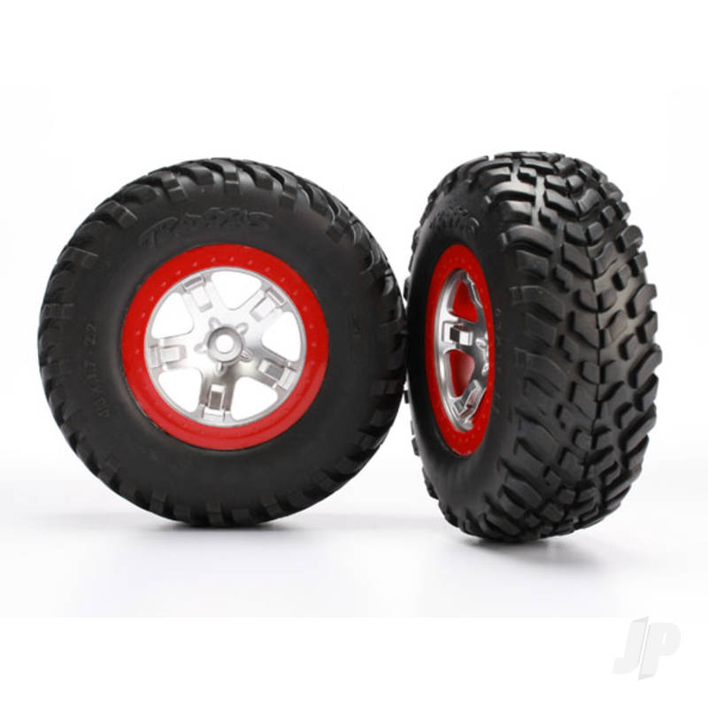 SCT Satin Chrome, Red Bead. Tyres and Wheels (Pair)