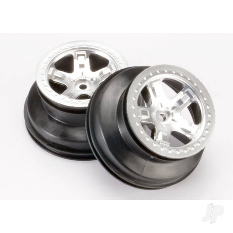Wheels, SCT satin chrome, beadlock style, dual profile (2.2in outer, 3.0in inner) (2WD front)