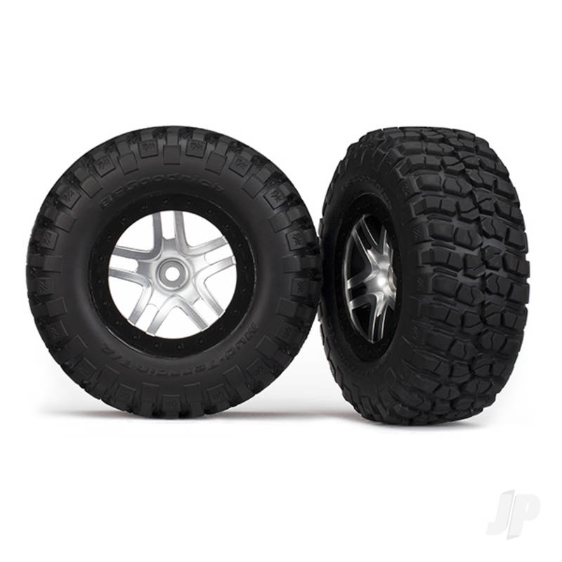 Tires & wheels, assembled, glued (SCT Split-Spoke, satin chrome, black beadlock wheels, BFGoodrich Mud-Terrain T / A KM2 tires, foam inserts) (2pcs) (2WD front)