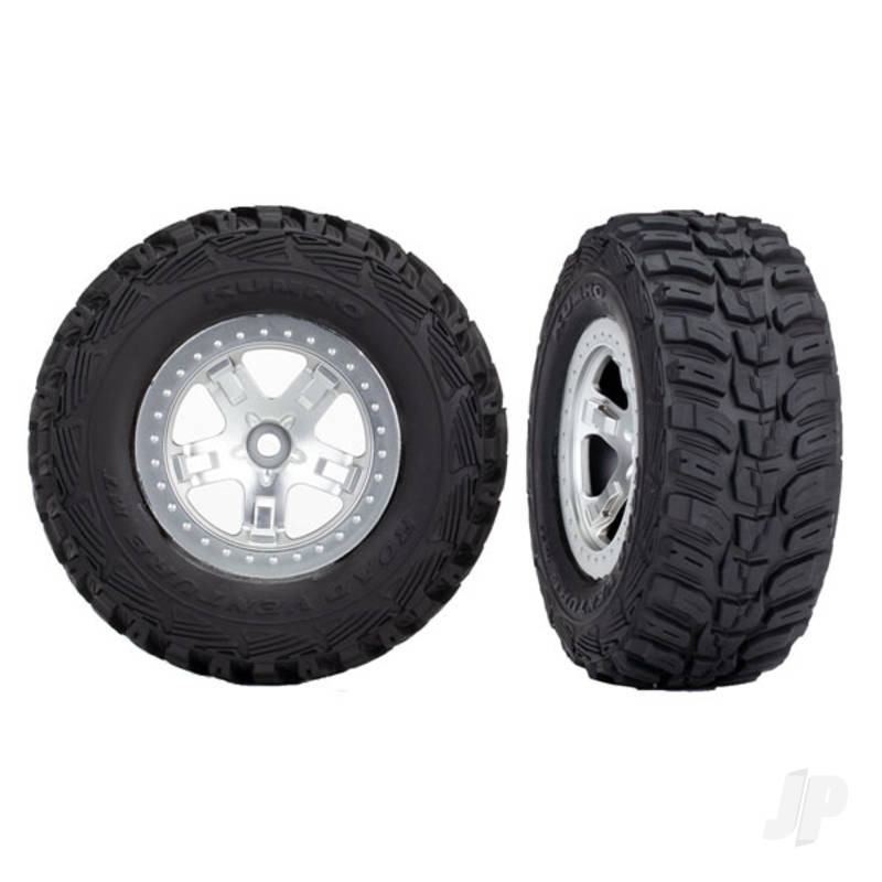 Tires & wheels, assembled, glued (SCT satin chrome, beadlock style wheels, Kumho tires, foam inserts) (2pcs) (4WD front & rear, 2WD rear only)