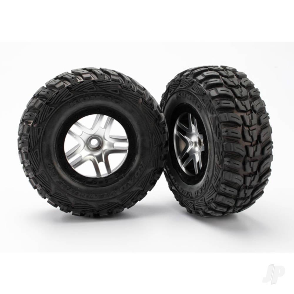 Tires & wheels, assembled, glued (S1 ultra-soft off-road racing compound) (SCT Split-Spoke satin chrome, black beadlock style wheels, Kumho tires, foam inserts) (2pcs) (2WD front)