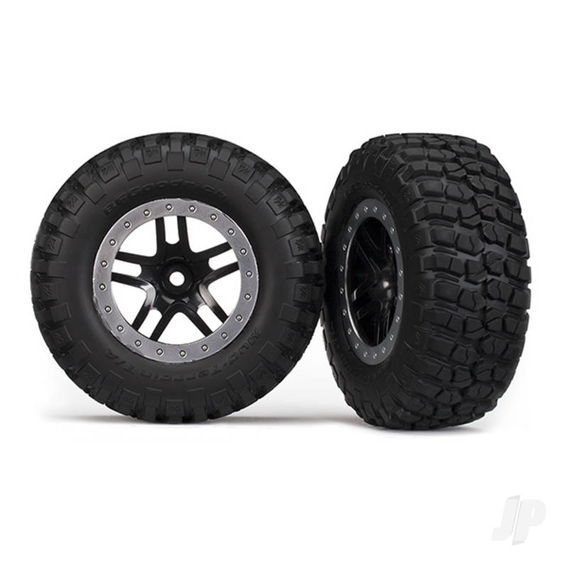 Tyres & Wheels, assembled, glued (SCT Split-Spoke, black, satin chrome beadlock wheels, BFGoodrich Mud-Terrain T / A KM2 Tyres, foam inserts) (2pcs) (2WD Front)
