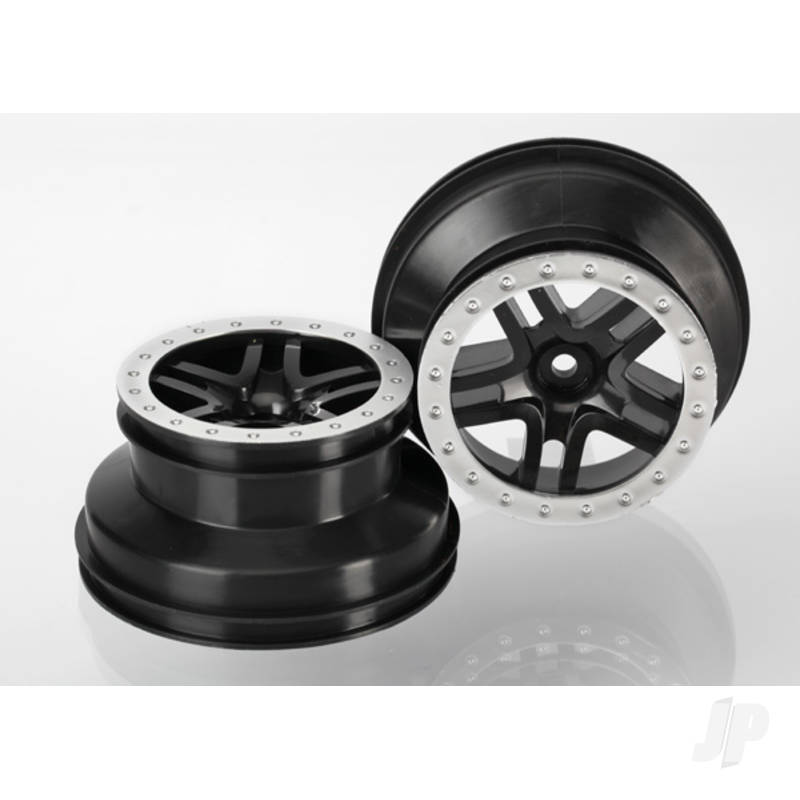 Wheels, SCT Split-Spoke, black, satin chrome beadlock style, dual profile (2.2in outer, 3.0in inner) (2WD front) (2pcs)