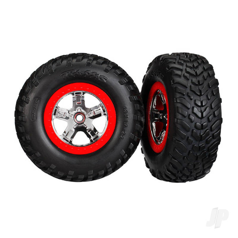 Tires & wheels, assembled, glued (S1 compound) (SCT chrome wheels, red beadlock style, dual profile (2.2in outer, 3.0in inner), SCT off-road racing tires, foam inserts) (2pcs) (4WD front & rear, 2WD rear) (TSM rated)