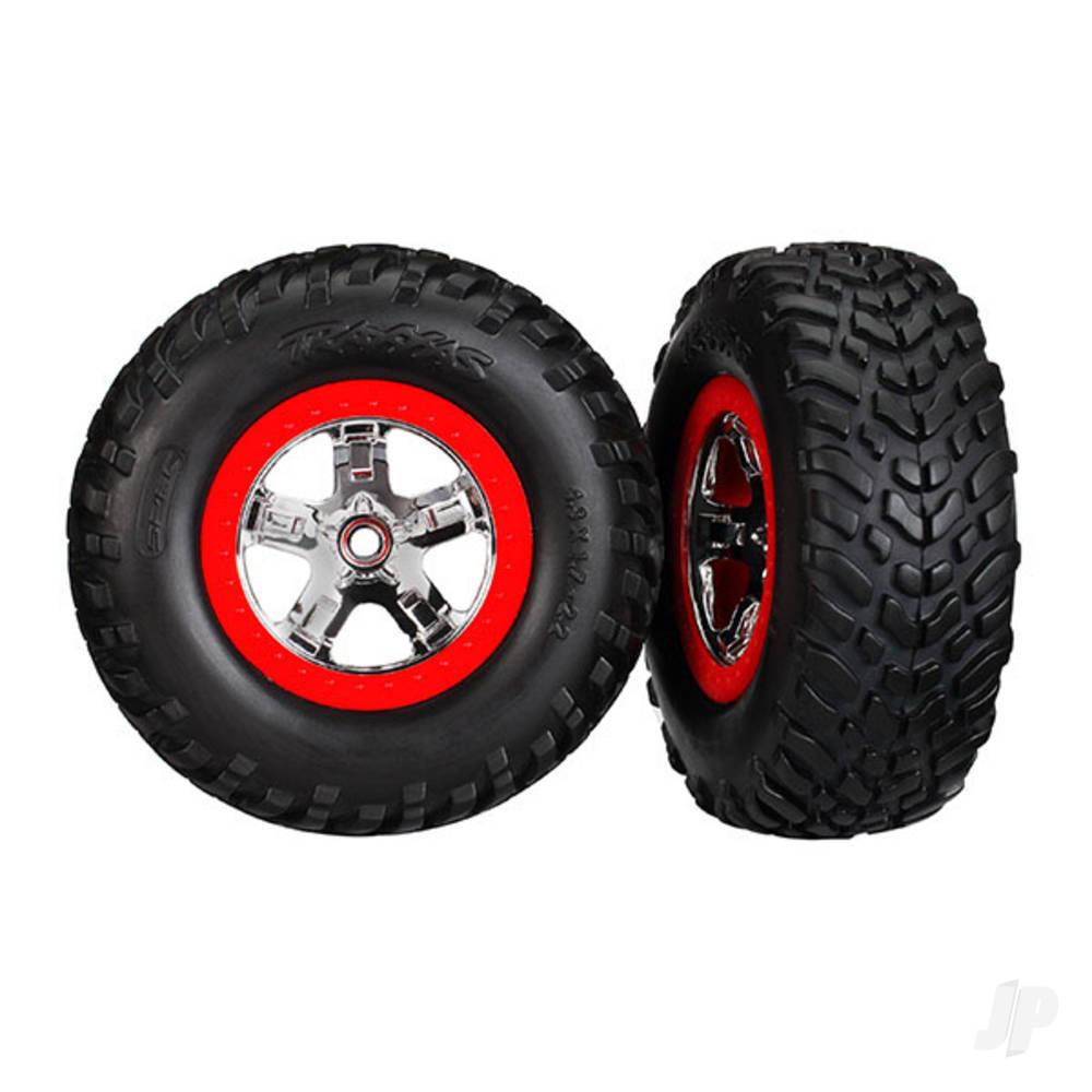 SCT Chome wheels & Tyres, Red beadlock (Pair)
