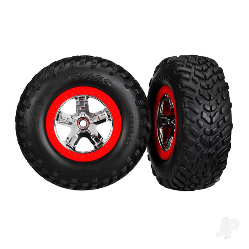 Tyres & Wheels, assembled, glued (SCT chrome wheels, red beadlock style, dual profile (2.2in outer, 3.0in inner), SCT off-road racing Tyres, foam inserts) (2pcs) (2wd front)