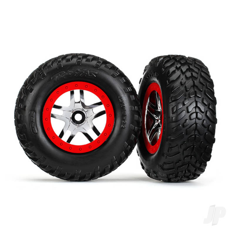 Tires & wheels, assembled, glued (SCT Split-Spoke chrome, red beadlock style wheels, dual profile (2.2in outer, 3.0in inner), SCT off-road racing tires, inserts) (2pcs) (front & rear)