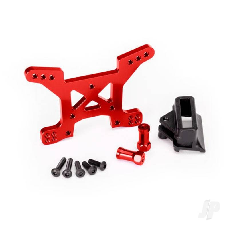 Shock tower, front, 7075-T6 aluminium (red-anodized) (1pc) / body mount bracket (1pc)