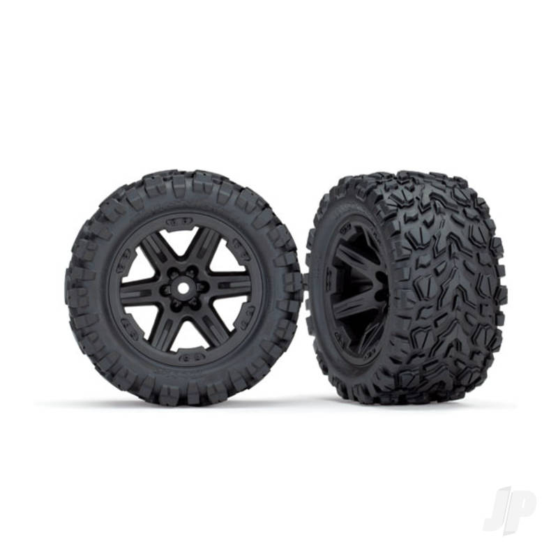 Tires & wheels, assembled, glued (2.8in) (RXT black wheels, Talon Extreme tires, foam inserts) (4WD electric front & rear, 2WD electric front only) (2pcs) (TSM rated)