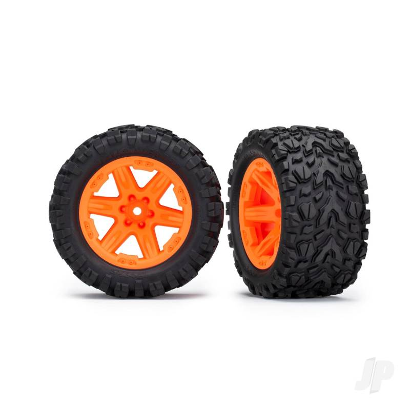 Tires & wheels, assembled, glued (2.8in) (RXT orange wheels, Talon Extreme tires, foam inserts) (4WD electric front & rear, 2WD electric front only) (2pcs) (TSM rated)