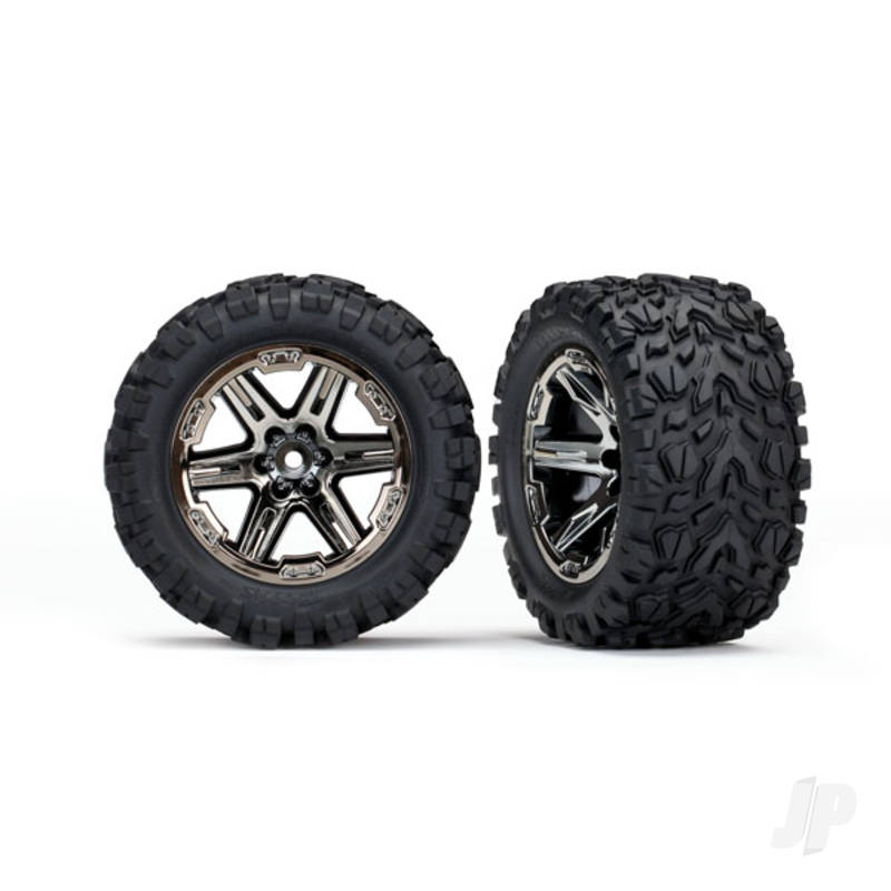 Tyres & Wheels, assembled, glued (2.8in) (RXT black chrome wheels, Talon Extreme Tyres, foam inserts) (2WD electric rear) (2pcs) (TSM rated)